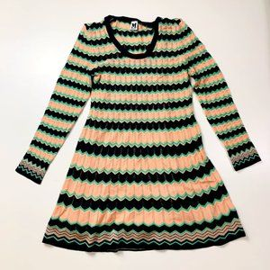 Missoni Knit Stripe Peach Green Blue Stretch 46 12